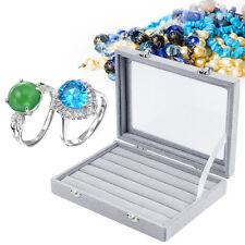 Grey Velvet Glass Rings Jewelry Box 100 Rings Display Show Case Holder HJ