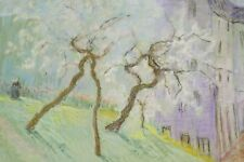 Marguerite DUBOIS Dessin Pastel Paysages Arbres en fleurs Abbaye Provence v 1935