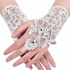 Lace Fingerless Rhinestone Bridal Gloves For Wedding Party Bridal Accessories