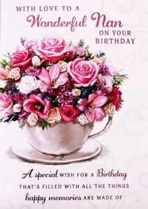 """Traditional Flower Bouquet In Teacup """"WONDERFUL NAN"""" Birthday Card"""