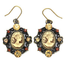 Heart Antique Style Bronze Tone Cameo Topaz Brown Stone Dangle Earring Charm NEW