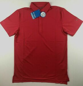 Columbia Golf Mens Small Sunset Red Omni Freeze Zero Power Polo Collared Shirt