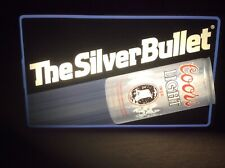 """Vintage Coors Light Beer """" Silver Bullet """" Lighted Sign Non Neon Pabst Slitz"""