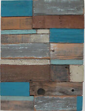 Barnwood Wall Art Rustic Decor Reclaimed Wood Sculpture Turquoise Gray Blue