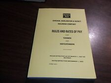 DECEMBER 1952 CB&Q YARDMEN RULES AND RATES OF PAY