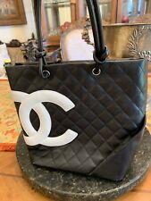 CHANEL CC Cambon Medium Tote Hand Bag Calfskin Leather Black White