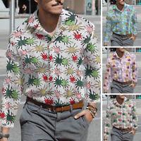 Mode Hommes Chemises imprimées à fleurs à manches longues vacances Élégant hauts