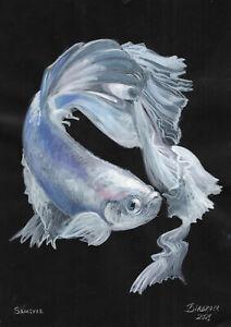 original painting A4 141PK art samovar acrylic Modern animal fish Signed 2021