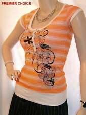 Waist Length Cap Sleeve Striped Tops & Shirts for Women