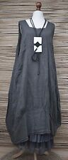 LAGENLOOK LINEN OVERSIZED BEAUTIFUL 2 POCKETS LONG DRESS***CHARCOAL**SIZE XL-XXL