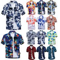 Herren Hawaiihemd Kariert Sommer Kurzarm T Shirt Freizeit Bluse Oberteil Hemden