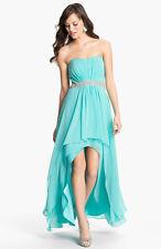 XSCAPE ~ Aqua Chiffon Strapless Embellished Waist Hi-Low Gown 12 NEW $209