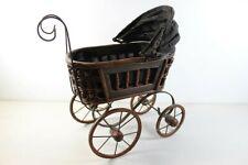 "Vintage Baby Doll Stroller 19"" Tall Wicker Rattan Antique Pram"