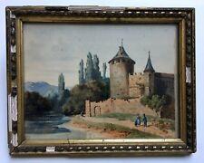 Château médiéval, Aquarelle ancienne signée Bottin, Encadrée et sous verre, XIXe