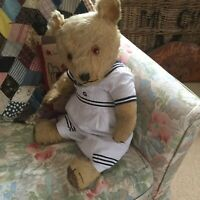 Vintage 1930/40 Chiltern Hugmee Teddy bear, In Vintage Romper. Large 24""