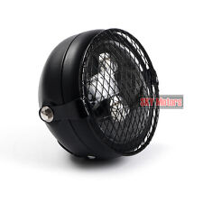 Black LED Projection Lens Headlight Motorcycle & Grill Mesh Cover Diamond lattic