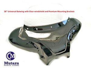 "38"" Universal Motorcycle Cruiser Batwing Fairing w/ Clear windshield & hardware"