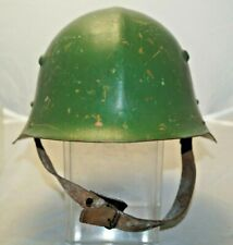 Original WW2 Era Bulgarian M36 Military Forest Green Camo Steel Helmet