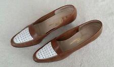 Salvatore Ferragamo Brown White Pumps Boutique Leather 1.75  Heels Size 11AAA