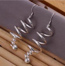 Spiral 50mm Long Drop Dangle Earrings Women 925 Sterling Silver Plated Twist
