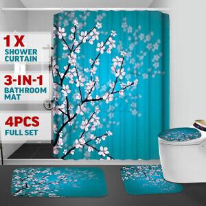 4Pcs/set Plum Blossom Waterproof Shower Curtain Carpet Toilet Cover Mat Ru