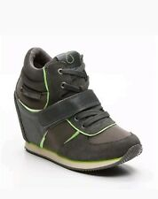 Calvin Klein Womens Suede wedged Grey green Trainers Shoes  UK 7 EU 40