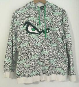 No Fear Youth Full zip up Hoodie Green black logo Eyes size 16 Streetwear