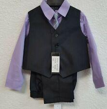 👨�💼Andrew Fezza Outfit Set Purple Shirt, Vest, & Tie Boys Size 4 T