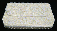 Vintage Du Barry Ivory White Beaded Clutch Purse Evening Bag - Made In Hong Kong