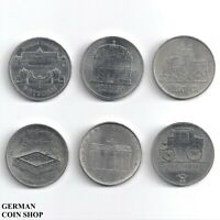 DDR - Set 6 verschiedene 5 Mark Münzen - 1971 1972 1985 1986 1990