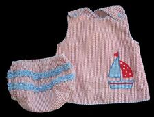 Girls PETIT AMI Striped Seersucker SAILBOAT Set 6m ZU Nautical Outfit Dress Top