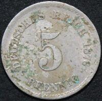 1876 | Germany Empire 5 Pfennig | Cupro-Nickel | Coins | KM Coins