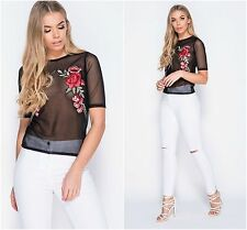 Womens See-through Floral Embroidered Sheer Mesh Fish Net Club Party Tops Shirt