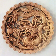 ART ! CHINESE HAND CARVED DRAGON STATUE CAMPHOR WOOD PLATE WALL SCULPTURE NR ww3