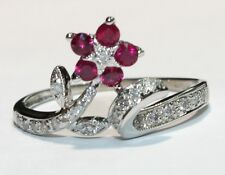 Ladies 14K White Gold Diamond and Ruby Ring NEW