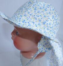 KU 42 43 44 45 46  Nacken Schutz Ohren Sommer Sonnen Hut Mädchen Baby blau weiß