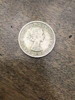 1956 Two Shillings U.K. Coin FiD:DEF Dei-Gratia Regina + Elizabeth II VF