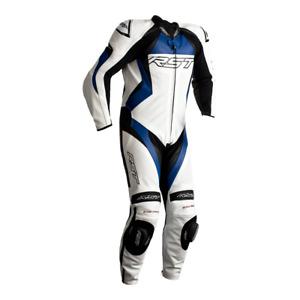 RST Tractech Evo 4 Weiß/Blau Ce Leistung 1PC Motorrad Leder Racing Suit