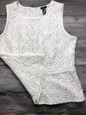 Ann Taylor Women Top White Floral Shell Embroidered Sleeveless Zipper Back SZ 14