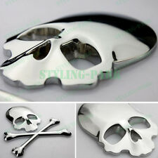 Alloy Skull Cross Bones Skeleton Metal Chrome Silver Emblem Badge Decal Sticker