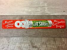 "22""X 3"" LIFESAVERS Candy PORCELAIN DOOR PUSH BAR ADVERTISING SIGN. Rare Color."
