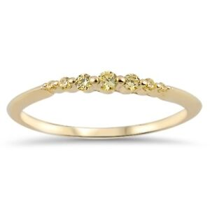 Stackable Yellow Gold Yellow CZ Ring 925 Sterling Silver Wedding Band Size 4-10