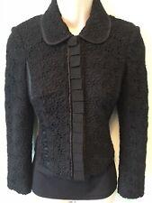 KAREN MILLEN black Crochet Detailed Blazer Collar Jacket Smart Evening Size 10