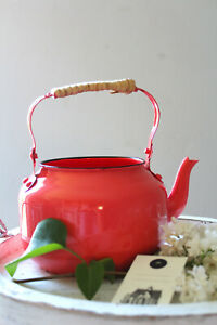 Teekanne Teekessel L Wasserkessel Rotorange Shabby Übertopf Blechkessel Ø14cm