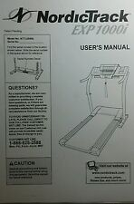 NordicTrack Exercise Exp1000i Owners & Parts Manual Nttl09900 Treadmill Run