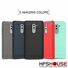 POUR HUAWEI HONOR 6X CARBONE COQUE HOUSSE ETUI SILICONE GEL TPU CASE COVER