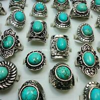 18pcs Turquoise Tibet Silver Plated Rings Mixed Fashion Wholesale Jewelry Lots