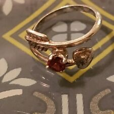 💜Sterling Silver Arrow with Heart and Garnet Ring