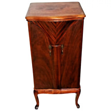 French Art Deco Cabinet Liquor Bar Chevron inlays Butterfly swing out Doors
