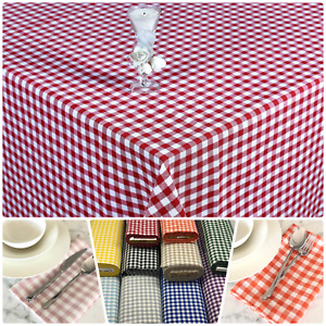 Gingham Check 1cm Tablecloth Kitchen Dining Table Covers Rectangle Square Round